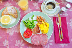 Tasty traditional appetizing yummy breakfast at the restairant outdoors. Tasty traditional appetizing yummy breakfast at the restairant royalty free stock photo