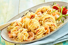 Tasty traditional italian pasta with scampis Stock Photo
