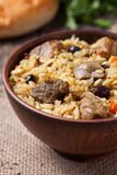 Tasty traditional pilaf meal with rice, fried meat Stock Images