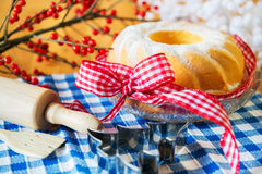 Tasty turban cake for christmas Royalty Free Stock Images