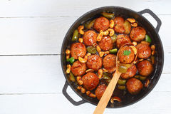 Tasty turkey meatballs smothered in sauce Royalty Free Stock Photos