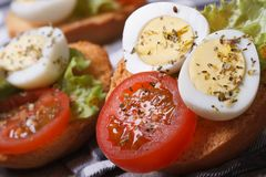 Tasty useful sandwiches with boiled quail eggs, Royalty Free Stock Photography