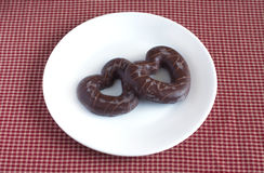 Tasty Valentine's Day. Chocolate covered biscuits Royalty Free Stock Image