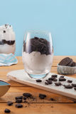 Tasty vanilla frozen yogurt with chocolate cookies and whipped cream Stock Images