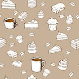 Tasty vector seamless pattern - cakes, biscuits, p. Vector seamless pattern - background for your design with hot drinks, cakes, sweets and croissants Royalty Free Stock Photography