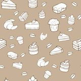 Tasty vector seamless pattern - cakes, biscuits, p. Vector seamless pattern - background for your design with cakes, sweets and croissants Royalty Free Stock Photography