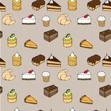 Tasty vector seamless pattern - cakes, biscuits, p. Vector seamless pattern - background for your design with cakes, sweets and croissants Stock Image