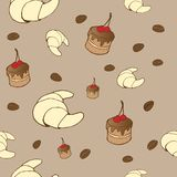 Tasty vector seamless pattern - coffe, cakes and c Stock Image