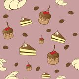 Tasty vector seamless pattern - coffe, cakes and c. Vector seamless pattern - background for your design with coffee beans, croissants, sweet cakes Royalty Free Stock Images