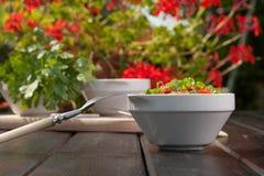 Tasty vegetable dish. On table Stock Photos