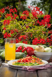 Tasty vegetable dish. Tasty dish of vegetables on a white plate Stock Photos