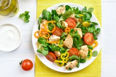 Vegetable salad with chicken meat. Tasty vegetable salad with chicken meat. Top view, flat lay Royalty Free Stock Photo