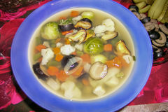 Tasty vegetable shellfish mussels soup Stock Image