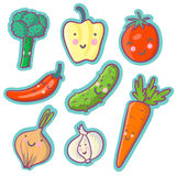 Tasty vegetables. Cartoon vector set Royalty Free Stock Images