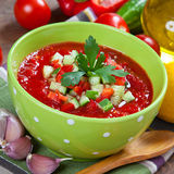 Tasty vegetarian gazpacho soup on the table Royalty Free Stock Photography