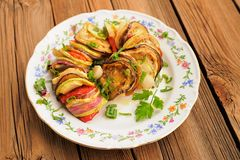Tasty vegetarian ratatouille made of eggplants, squash, tomatoes Stock Photography