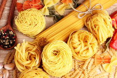 Tasty vermicelli, spaghetti and spices Royalty Free Stock Image