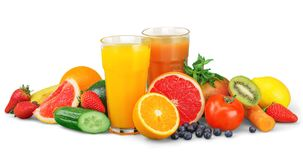 Tasty fruits and juice with vitamins on