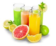 Tasty fruits  and juice with vitamins on. Tasty vitamin juice vitamins fruits color nobody Royalty Free Stock Photos