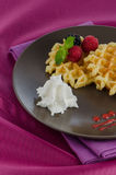 Tasty waffle with fruits Stock Image