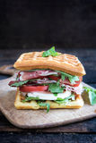 Tasty waffle sandwich Royalty Free Stock Photography