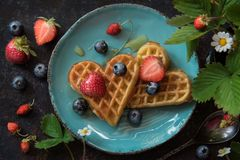 Waffles with berries Flat lay. Tasty waffles with berries and honey, Top view Stock Images