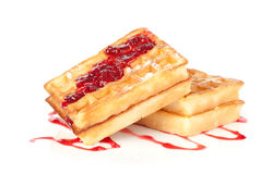 Tasty waffles with jam Stock Image