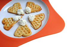 Tasty waffles on plate Royalty Free Stock Photos