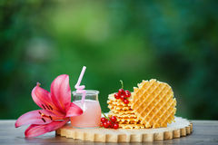 Tasty waffles on wooden board with background of green bokeh. Belgian waffles with fresh berries on cutting board on background of green bokeh. grapefruit juice Stock Images