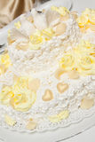 Tasty wedding cake with doves. Stock Images