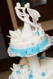 Tasty wedding cake with sugar paste. Stock Photography