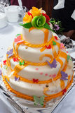 Tasty wedding cake. A taste colored wedding cake ready for serve royalty free stock images