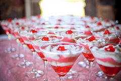 Tasty wedding deserts. Tasty red jelly and cream desserts for the friends and family celebrating the bride and groom's wedding day stock photos