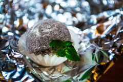 Tasty white candy in the form of ball with powder from coco with mint leaves. A relief background from a foil. Patches of light. Tasty white candy in the form of royalty free stock image