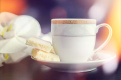 Tasty white porous chocolate and cup of coffee Stock Photography