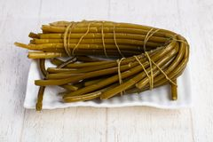 Tasty wild leek. Tasty tied up wild leek Royalty Free Stock Images