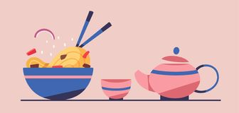 Tasty wok. Chinese cuisine. Flat vector illustration royalty free stock images