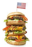 Tasty XXL Hamburger with the flag of USA.series Royalty Free Stock Photography