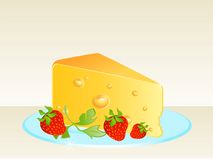 Tasty yellow cheese on a plate Royalty Free Stock Images