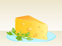 Tasty yellow cheese on a plate Stock Photo
