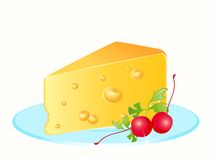 Tasty yellow cheese on a plate Royalty Free Stock Photography