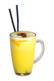 Tasty yellow cocktail with two sticks Royalty Free Stock Photo