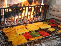 Tasty yellow and red peppers grilled Royalty Free Stock Photo