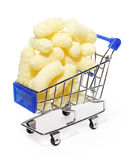 Tasty yellow sweet corn sticks in shopping cart Royalty Free Stock Images