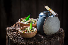 Tasty yerba mate with bombilla and calabash Stock Photography