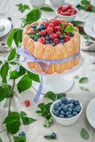 Tasty yoghurt cake with raspberries and blueberries in garden Stock Photo