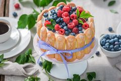 Tasty yoghurt cake with raspberries and blueberries served with coffee Stock Image