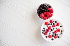 tasty yoghurt with raspberry Stock Photography