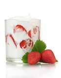 Tasty yogurt in glass and strawberries Royalty Free Stock Photos