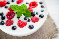 tasty yoghurt with raspberry Royalty Free Stock Image